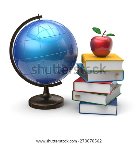 Books globe and apple blank international global geography wisdom literature icon study knowledge symbol concept. 3d render isolated on white background - stock photo