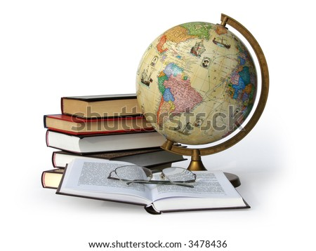Books, globe and glasses isolated on white background with a clipping path. - stock photo