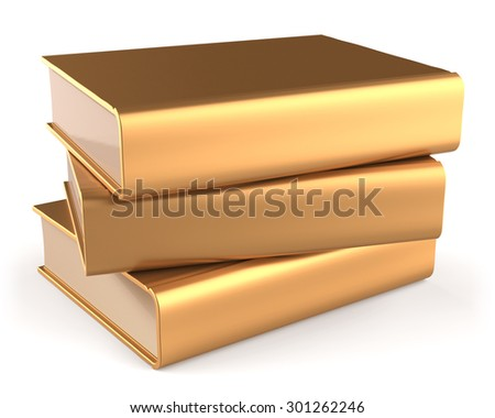Books golden three 3 textbook stack blank yellow gold manual faq. School studying information content learn icon luxury concept. 3d render isolated on white background - stock photo