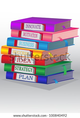 Books in a pile vertically - concept for modern person for success in business