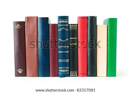 books in a row, isolated on white background,empty labels with free copy space - stock photo