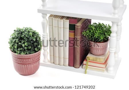 Books in a small white bookcase isolated on a white background - stock photo