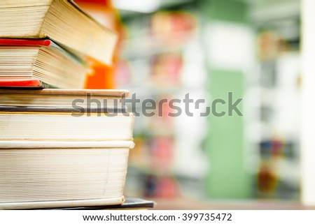 books in a study room  close up   select focus - stock photo
