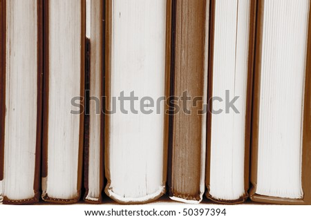 books in black and white sepia color - stock photo