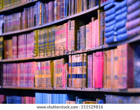 Books in bookshelves - stock photo