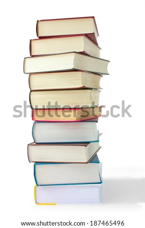 books in the pile on a white background isolated