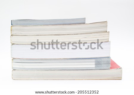 Books in white background.
