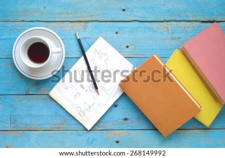 books, note ,coffee, learning, education, free copy space - stock photo