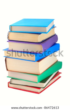 Books of different colours  isolated. - stock photo