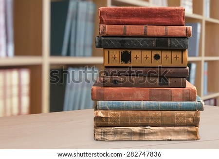Books, old, stacked. - stock photo