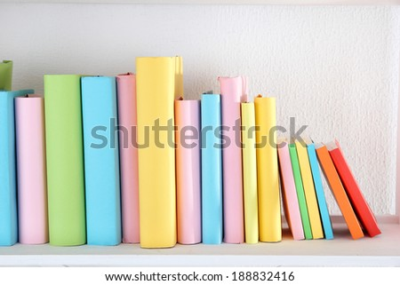 Books on shelf close-up