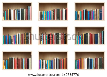 Books on shelves, isolated set. - stock photo