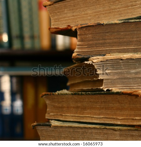 books on table - stock photo