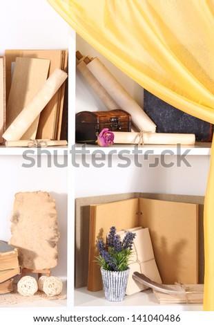 Books on white  shelves - stock photo