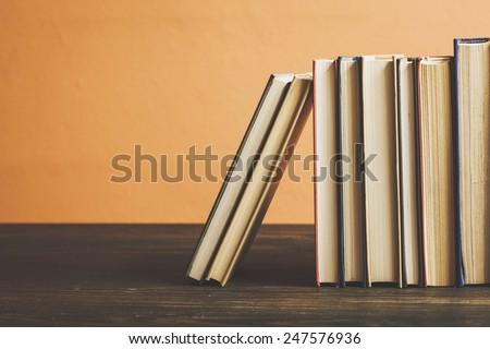 Books On Wooden Shelf./ Books On Wooden Shelf. - stock photo