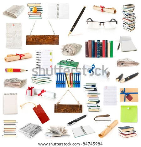 books, pages, notebooks, papers and pen collection isolated on white - stock photo