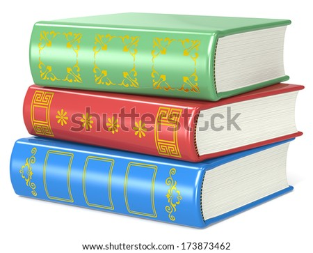 Books. Pile of 3 books. Red, green and blue. Golden ornaments. - stock photo