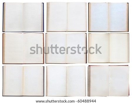 books set isolated on white background with clipping path - stock photo