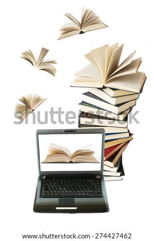 Books stack and book flying to laptop isolated on white background. Education concept  - stock photo