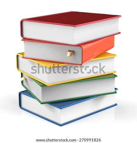 Books stack of book covers colorful textbook bookmark. School studying information content learn icon concept. 3d render isolated on white background - stock photo