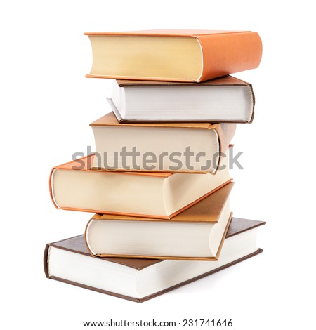 Books stacked isolated on a white background. - stock photo