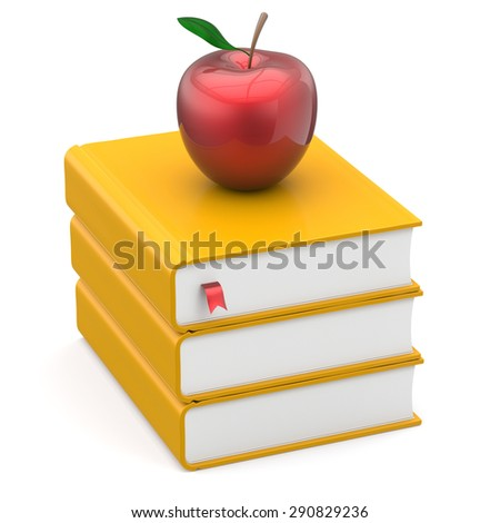 Books textbook stack yellow and red bookmark apple education studying reading learning school college knowledge literature idea icon concept. 3d render isolated on white - stock photo
