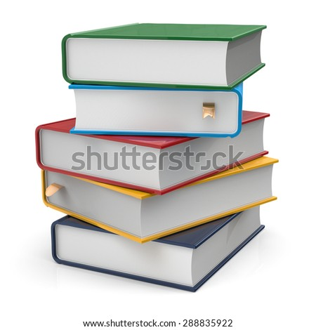 Books textbooks stack five 5 blank covers different colorful multicolored with bookmarks. School studying information content learn icon concept. 3d render isolated on white background - stock photo