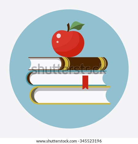 Books with apple flat icon. Back to school, stack of books color image, books flat style, books web icon, books concept for design, books education illustration, books art picture - stock photo