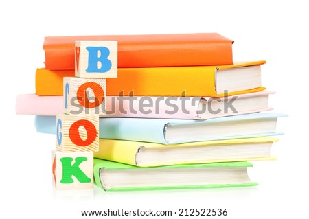Books with blocks - stock photo