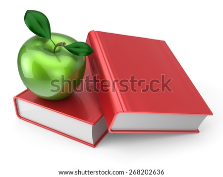 Books with green apple education health reading textbook learning examination concept. 3d render isolated on white - stock photo