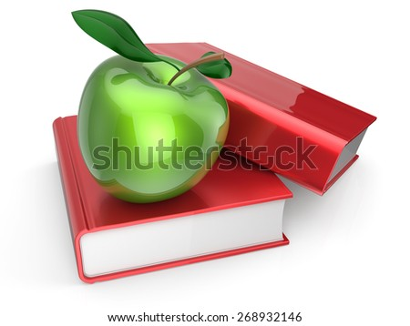 Books with green apple learning education examination health reading textbook icon concept. 3d render isolated on white - stock photo