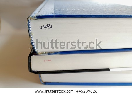 books with the word USED shown  - stock photo
