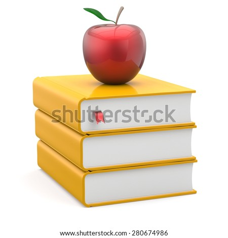 Books yellow textbooks stack red apple education studying reading learning school college knowledge literature idea icon index concept. 3d render isolated on white - stock photo