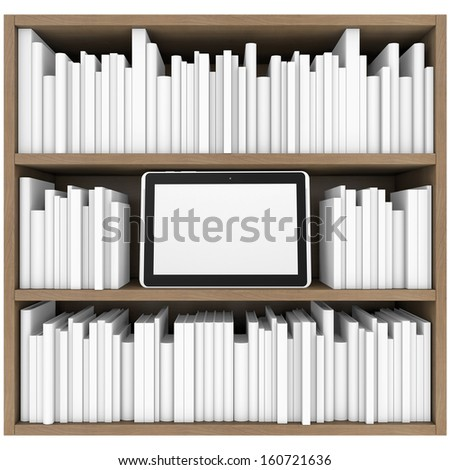 Bookshelf and tablet PC. 3d render isolated on white background - stock photo