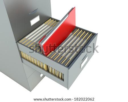 Bookshelf for documents - stock photo
