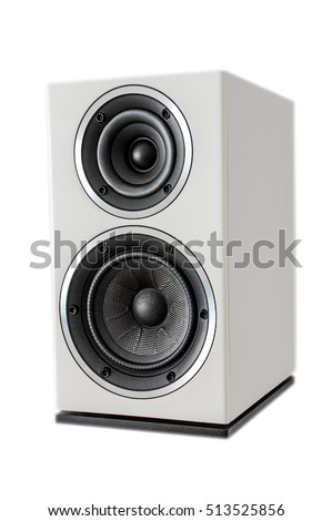 Bookshelf speaker, 2-way, in white glossy paint, bass and mid-high, rubber and kevlar.