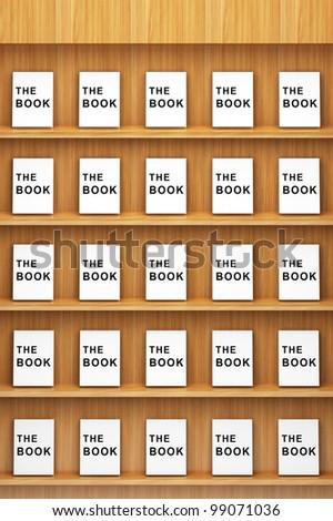 Bookshelf wooden with books - stock photo