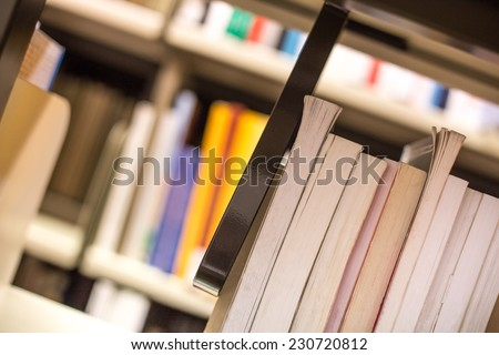 bookshelves background - stock photo