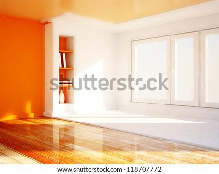 bookshelves in the niche, a big window, rendering - stock photo