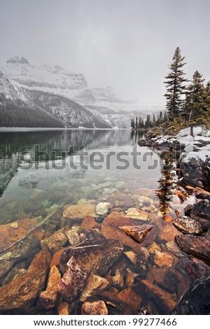 Boom Lake, Banff National Park, Alberta, Canada 1-1/4 Hour easy Hike - one way. - stock photo