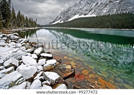 Boom Lake, Banff National Park, Alberta, Canada 1-1/4 Hour easy Hike - one way. - stock photo
