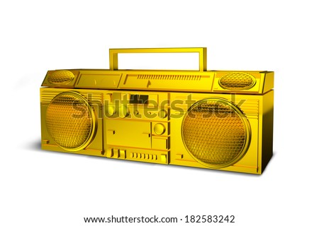 Boombox Gold Isolated on White - stock photo