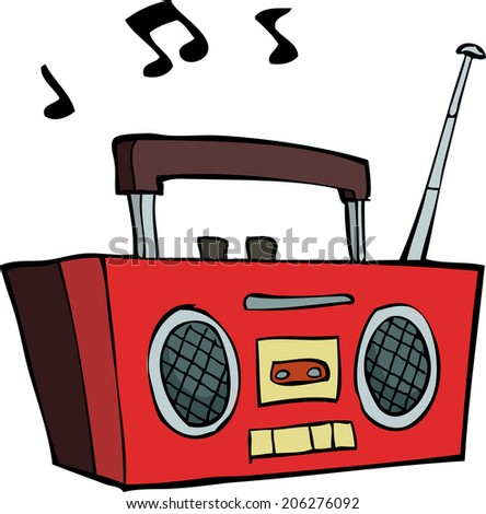 Boombox on a white background raster version - stock photo