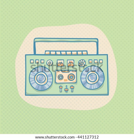 Boombox with cassette. Portable cassette player, hand drawn retro boombox illustration with halftone. Suitable for banner, ad, t-shirt design. Vintage boom box design element - stock photo