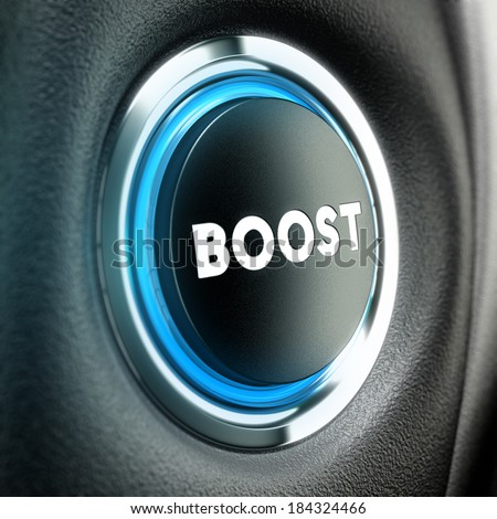 Booster button over black textured background. Conceptual 3D render suitable for motivation purpose or finance stimulator. - stock photo