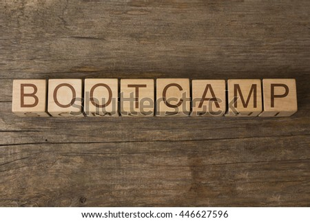 BOOTCAMP word written on wooden cubes - stock photo