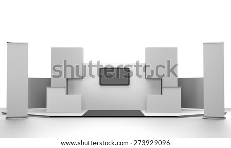 booth design in exhibition with tv display and rollups from front. 3D rendering - stock photo