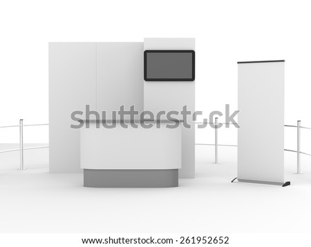 booth mock-up with tv display for a trade fair from front view - stock photo