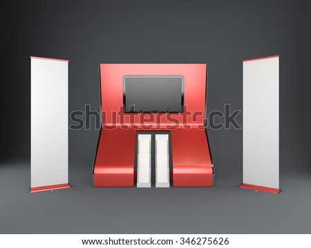 booth or stall with tv display. 3D rendering - stock photo