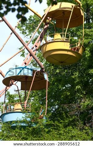 booths old Ferris wheel closeup - stock photo